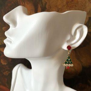 🔥 Vintage Rhinestone Christmas Tree Earrings